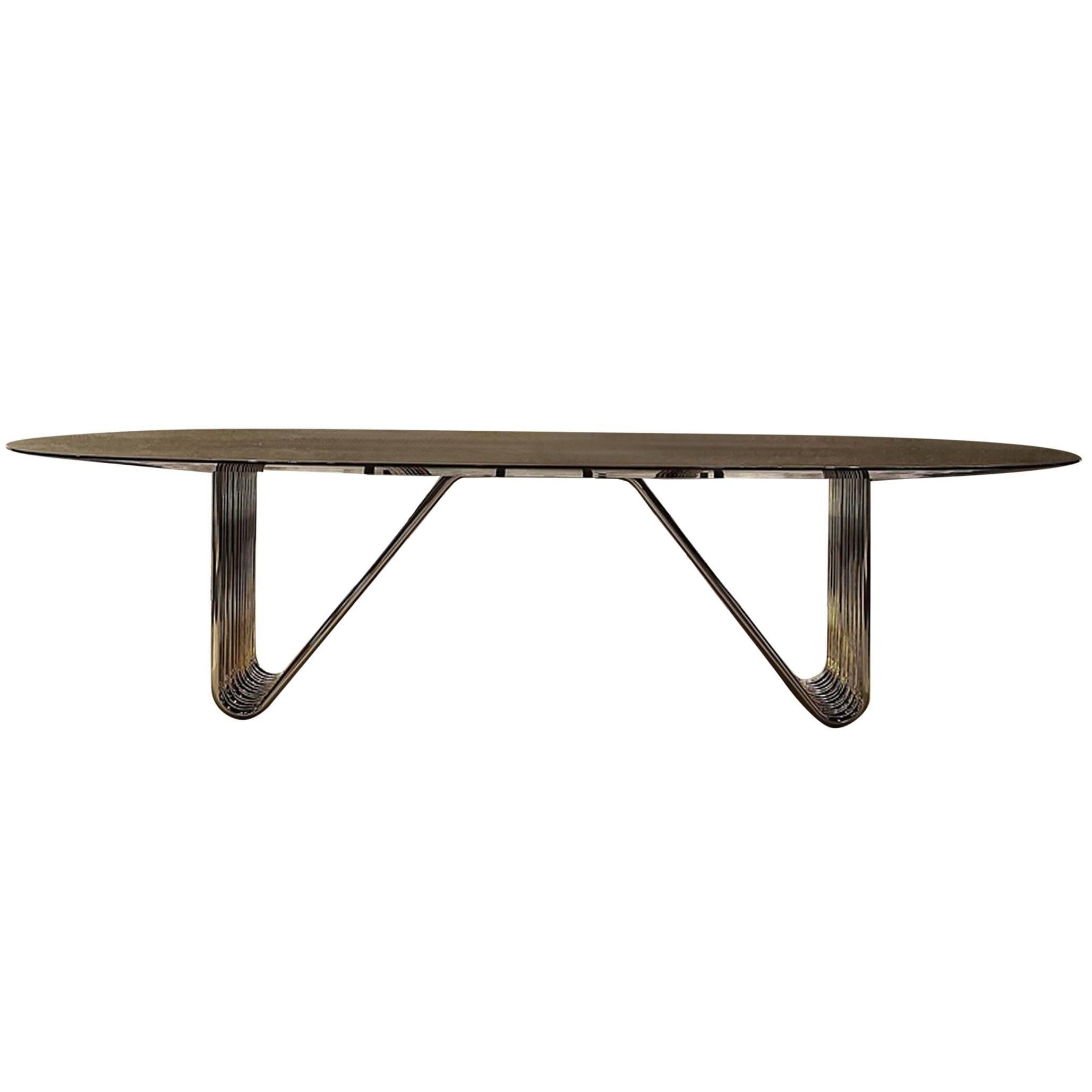 Alina Dining Table with Lacquered Ebony Top