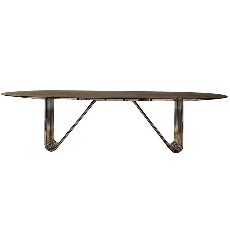 Alina Dining Table with Lacquered Ebony Top For Sale