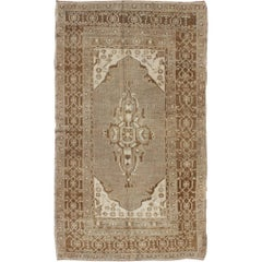 Vintage Oushak Small Rug in Taupe, Gray and Light Brown