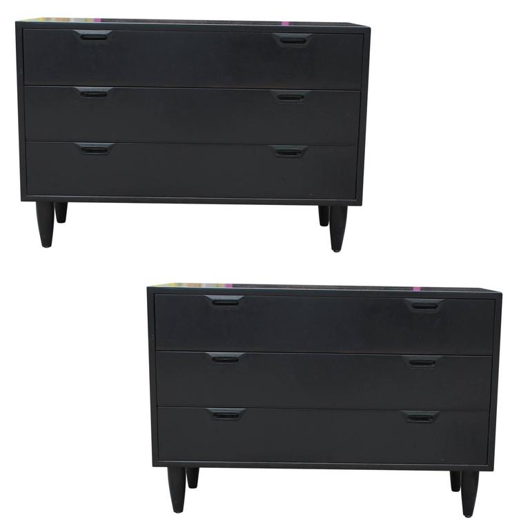 black chest of drawers for sale Pair of Modern Sven Ellekaer, Albert Hansen Black Three Drawer  black chest of drawers for sale