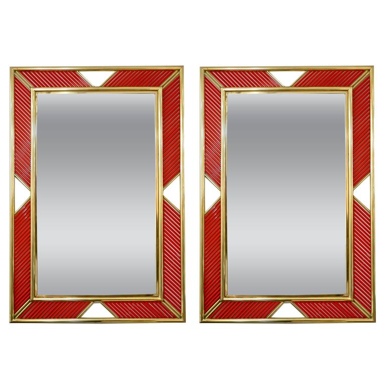 Italian Modern Pair Of Brass Mirrors With Coral Red Murano