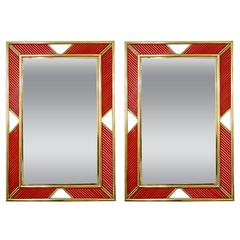 Italian Modern Brass Geometric Mirror with Red Murano Glass Baguettes