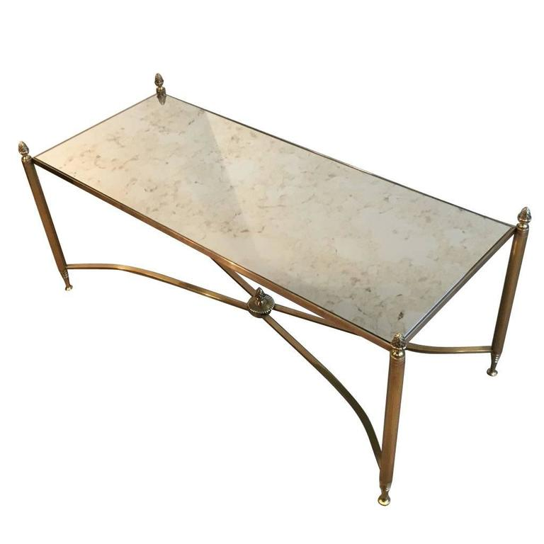 French Br And Antiqued Mirror Coffee Table 1940s For