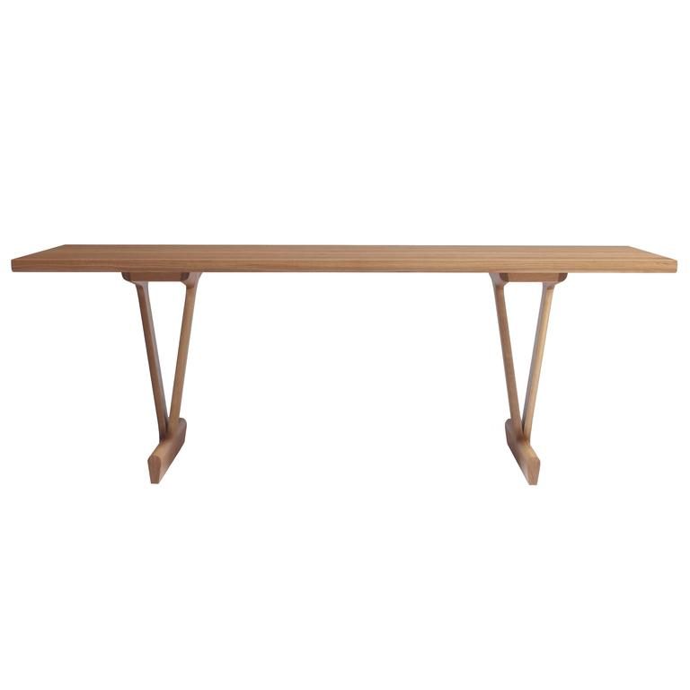 IV Dining Table in Solid White Oak with Trestle Legs For Sale