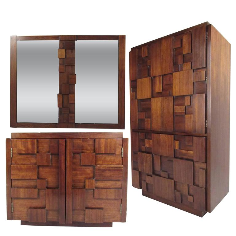 Mid Century Brutalist Bedroom Set By Lane Furniture For