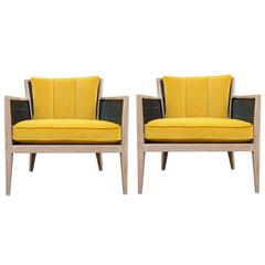Pair of Modern Harvey Probber Bleached Wood Cane Lounge Chairs in Yellow Velvet
