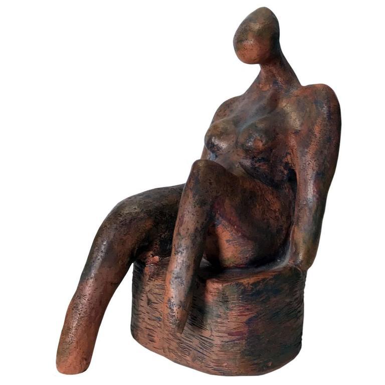 Figurative Nude Seated Female Terracotta Sculpture For Sale