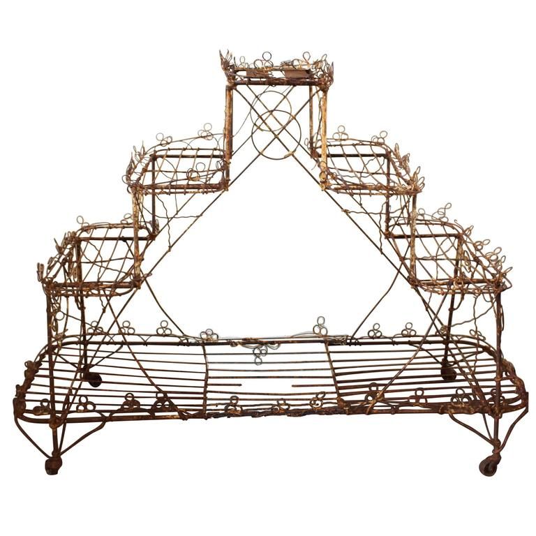 Late Victorian English Wire Plant Stand