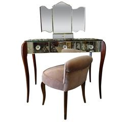 Mid-20th Century French Mirror Vanity with Chair
