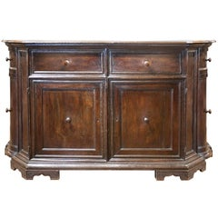 European 1850s Walnut Credenza with Two Drawers, Double Doors and Convex Sides