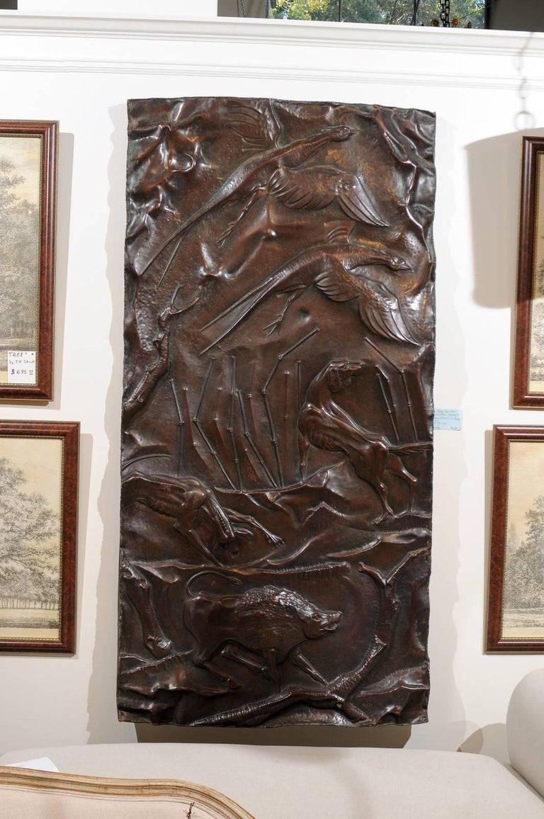 Large Copper Panel With Hunt Scene At 1stdibs