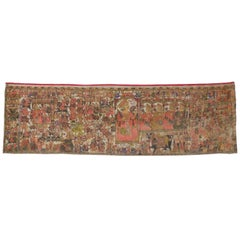 18th Century Antique Indian Medieval Tapestry after the Battle of Karnal in 1739