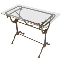 English Pub or Bistro Tables of Cast Iron with Glass Tops 'Individually Priced'