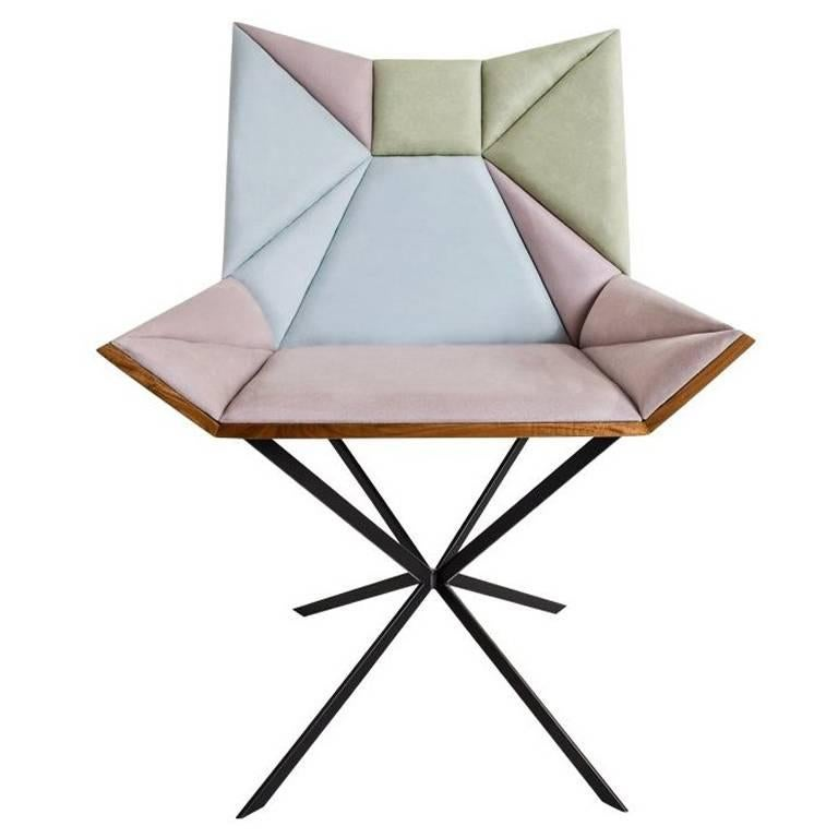 Contemporary Yvy Chair in Suede and Peroba Do Campo Wood by Nicolò Friedman  For Sale