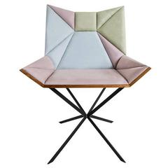 Contemporary Yvy Chair in Suede and Peroba Do Campo Wood by Nicolò Friedman