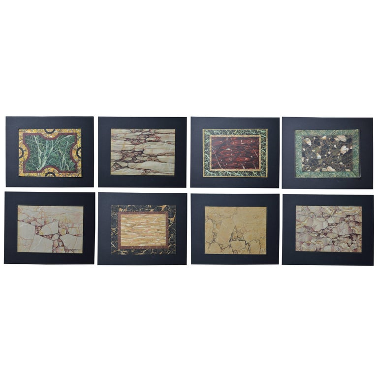 Set of 8 Antique Prints of Marble Samples, circa 1880
