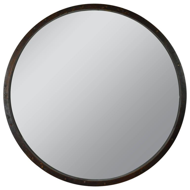Large Antique Style Wooden Framed Round Mirror For