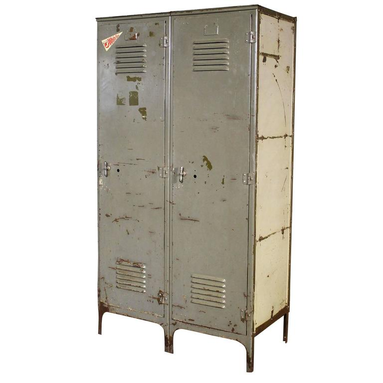 Vintage Pair of Lockers Distressed Set Oversized Steel Metal Storage Gym Sport