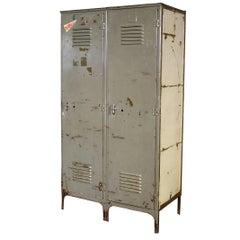 Vintage Pair of Lockers Distressed Set Oversized Steel Metal Storage Gym Sport
