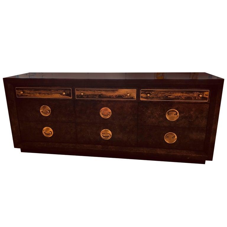 Mid-Century Modern Bernhard Rohne for Mastercraft Sideboard of Burl Wood & Brass