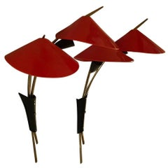 Pr Mid Century Modern Asian Style Brass and Red & Black Acrylic Wall Sconces