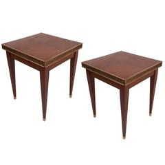 Pair of Rare French Art Deco Mahogany and Brass Side Tables