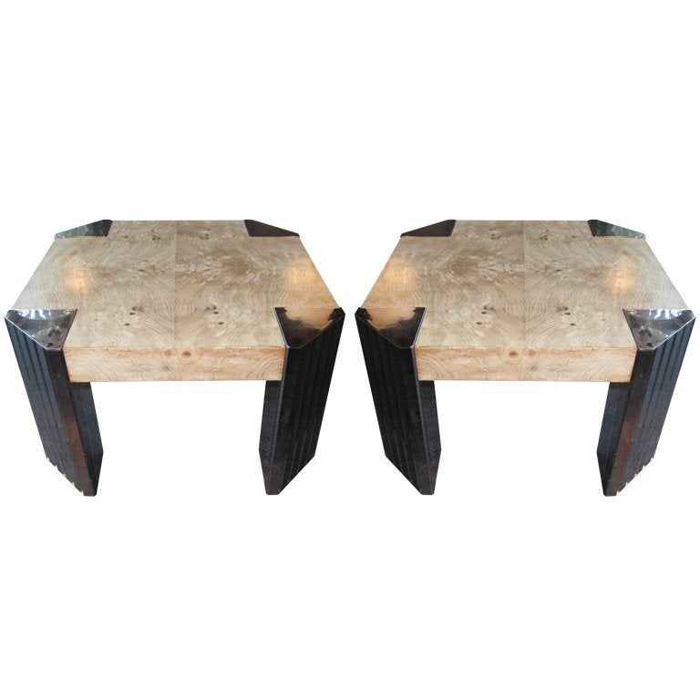 Pair Milo Baughman Style Side Tables