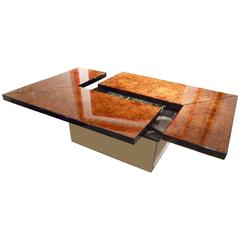 Willy Rizzo Burl Wood Low Table with a Hidden Bar
