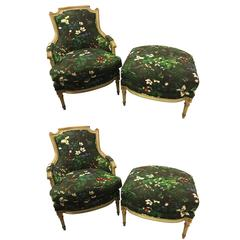 Pair of Louis XVI Style Bergere Chairs and Matching Ottomans by Jansen