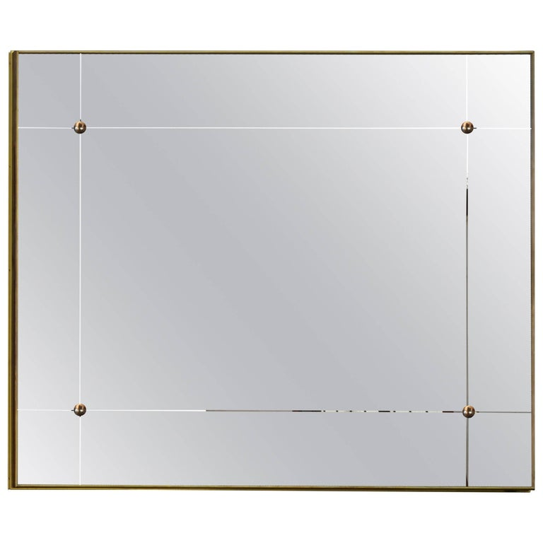 Pescetta Contemporary Art Deco Style Panelled Mirror with Brass Frame