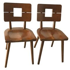 1940s Solid Wood Heywood Wakefield Split Back Chairs