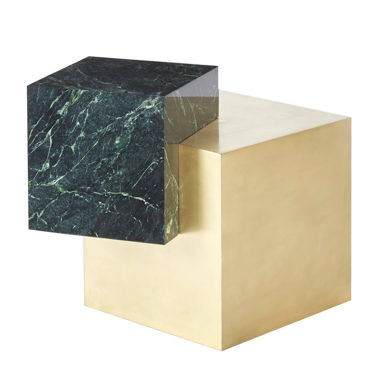 Coexist Askew Marble and Brass Side Table by Slash Objects, Made in USA For Sale