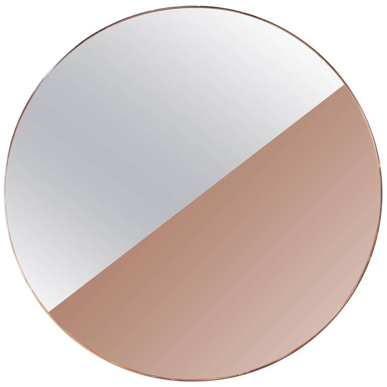 Custom Half Silver Half Apricot Round Mirror with Copper Frame For Sale