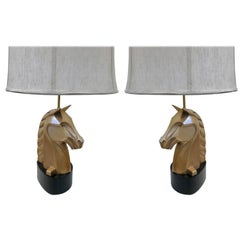 Pair of French Bronze Horse Lamps Style of James Mont