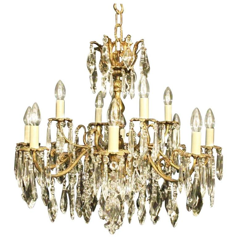 Italian Gilded Twelve-Light Antique Chandelier