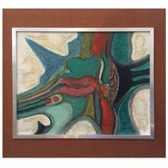 1950's or 60's abstract French Oil Painting by Pierre Havret, Original Frame