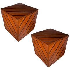 Pair of Mahogany and Rosewood Cube Tables