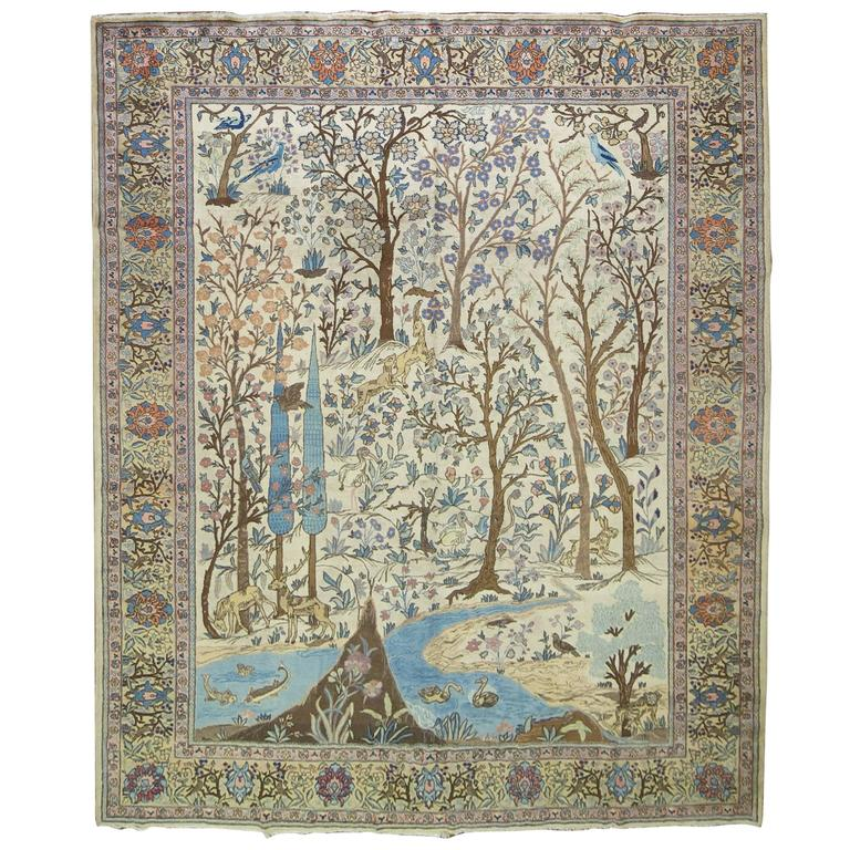 Antique Persian Tabriz Pictorial Hunting Scene Carpet For Sale
