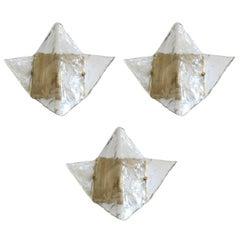 Set of Three Vintage Italian Murano Glass Sconces / Flush Mounts by Mazzega