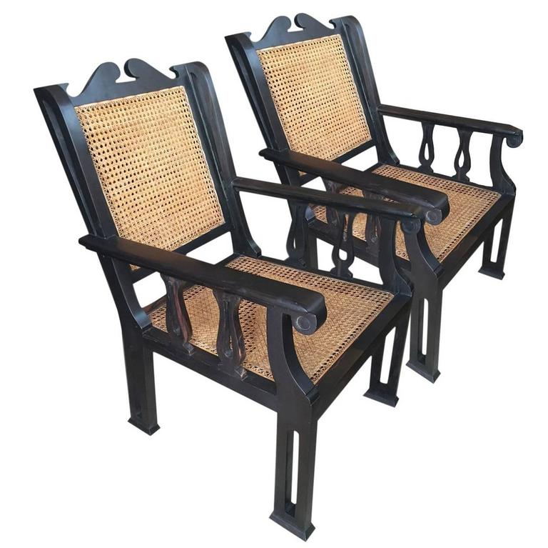 Pair of Solid Ebony and Cane Anglo-Indian Armchairs 1