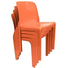 Vibrant Set of Four Vico Magistretti Italian Plastic Dining Chairs, 1970s