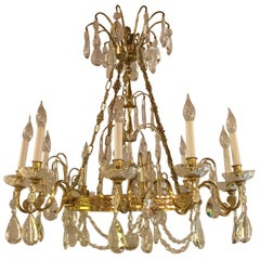 Russian Neoclassical Style Hollywood Regency Crystal and Brass Chandelier