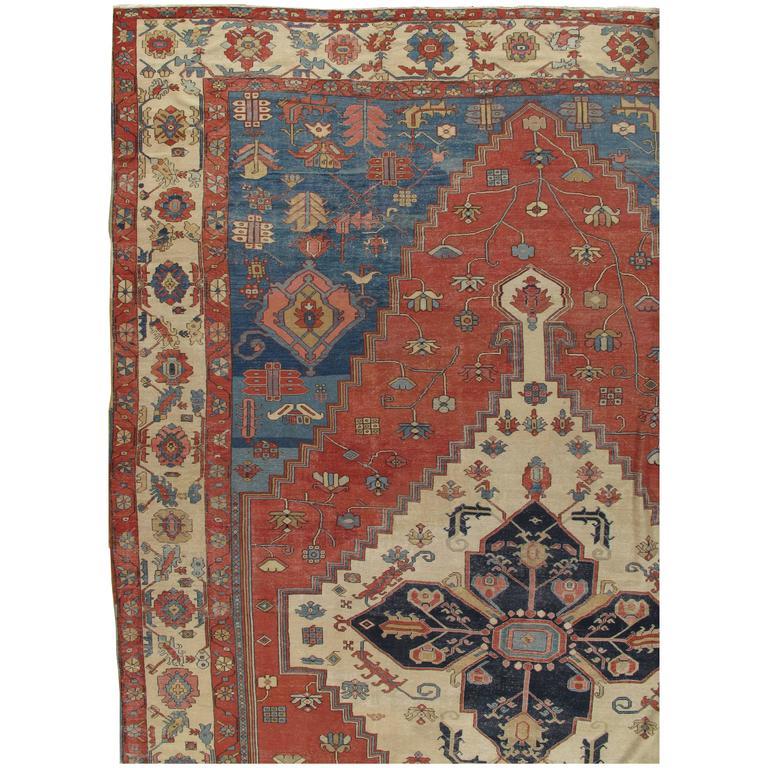 Persian Rugs For Sale: Antique Persian Serapi Carpet, Handmade Wool Oriental Rug