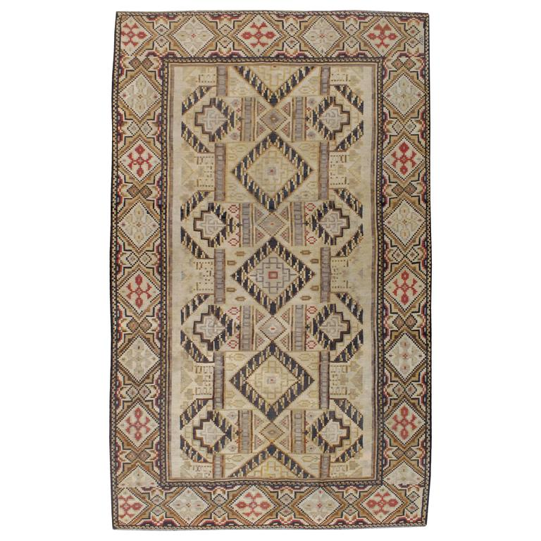Antique Russian Bessarabian Kilim Flatweave Rug For Sale