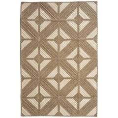 Natural Woven Wool Rug in Tan Cream, Custom Crafted in the USA, Reversible Araz