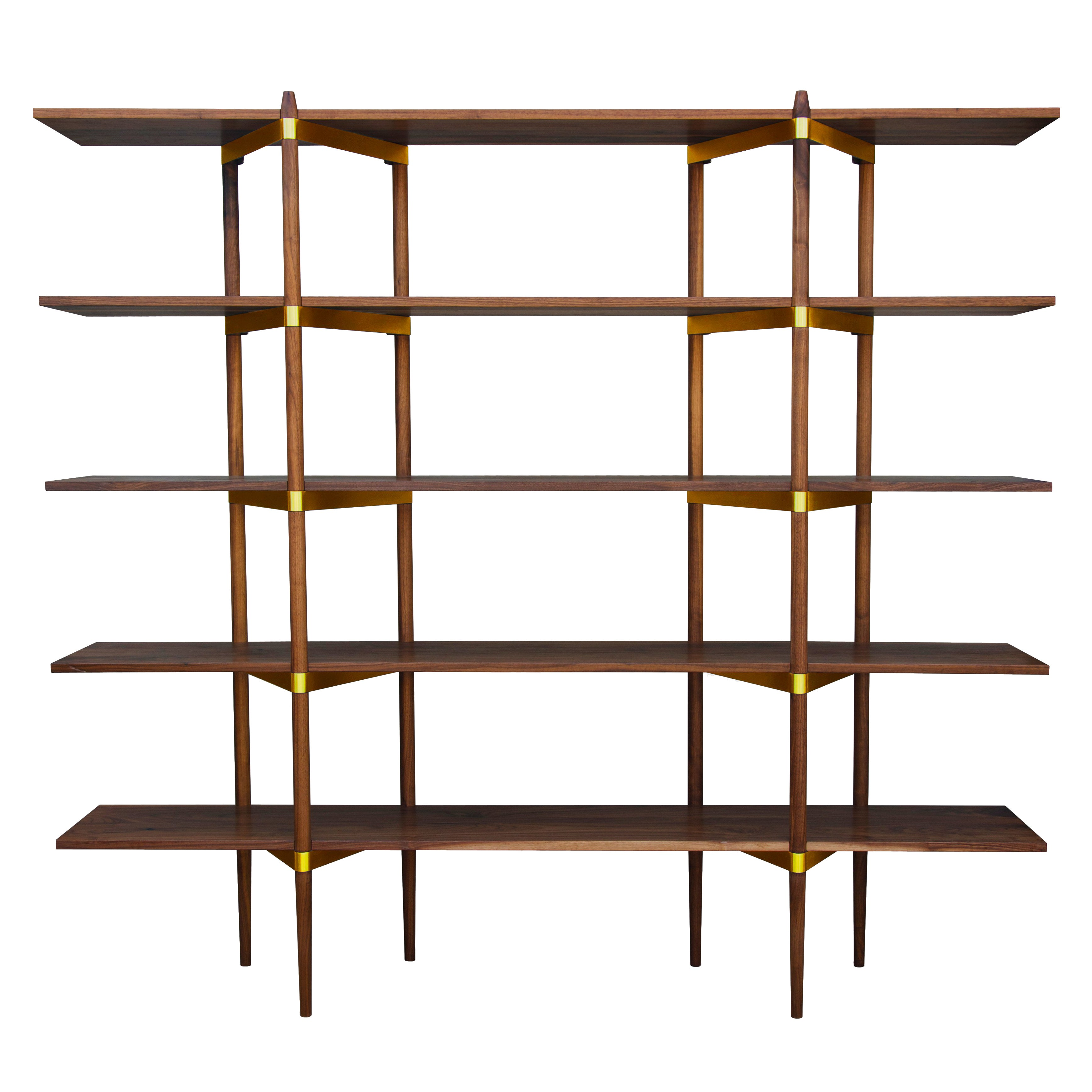 "Casey Lurie Studio Modern High ""Primo"" Shelving System in Walnut with Brass"