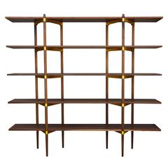 "Casey Lurie Studio Modern ""Primo"" 2/5 Shelf in Walnut with Brass Hardware"
