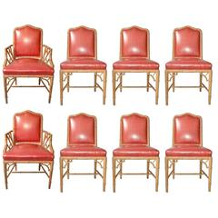 Faux Bamboo Chinese Chippendale Set of Eight Chairs in Vinyl
