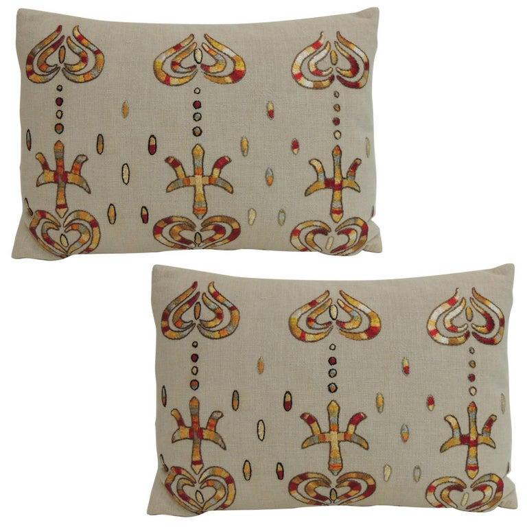 Pair of Vintage Turkish Embroidered Lumbar Decorative Pillows
