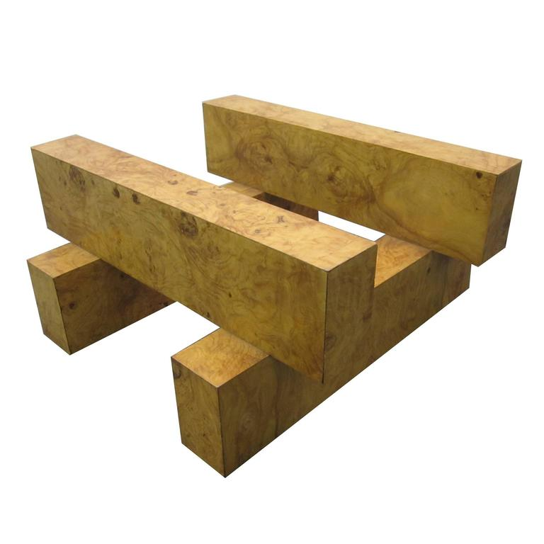 Gorgeous Milo Baughman Tic-Tac-Toe Coffee Table Burled Olivewood